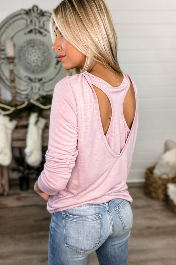 Dusty Mauve Comfy Open Back Athleisure Top