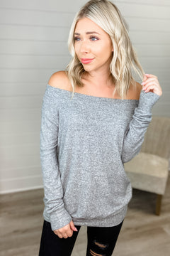 Most Requested Off Shoulder Top (Heather Grey)