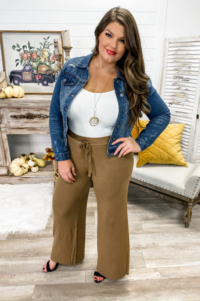Ribbed High Waist Pants (Camel)