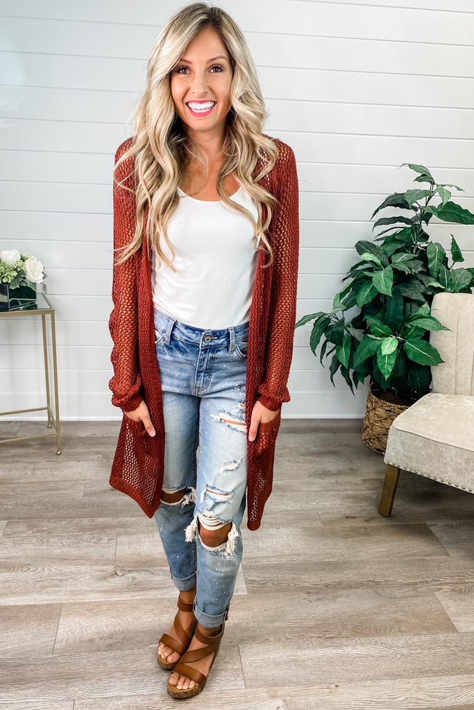 Light Weight Cardigan with Pockets (Burgundy)