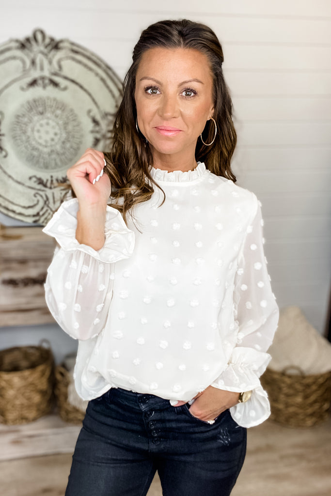 (Cream) Simply Sweet Swiss Dot Blouse