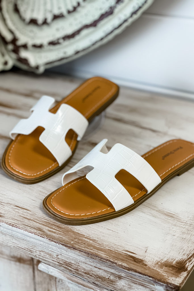 Summertime White Slide Sandals