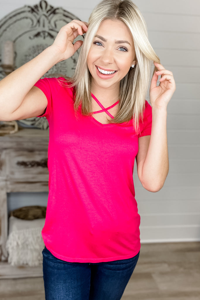 Crisscross Your Heart Short Sleeve Top (Hot Pink)