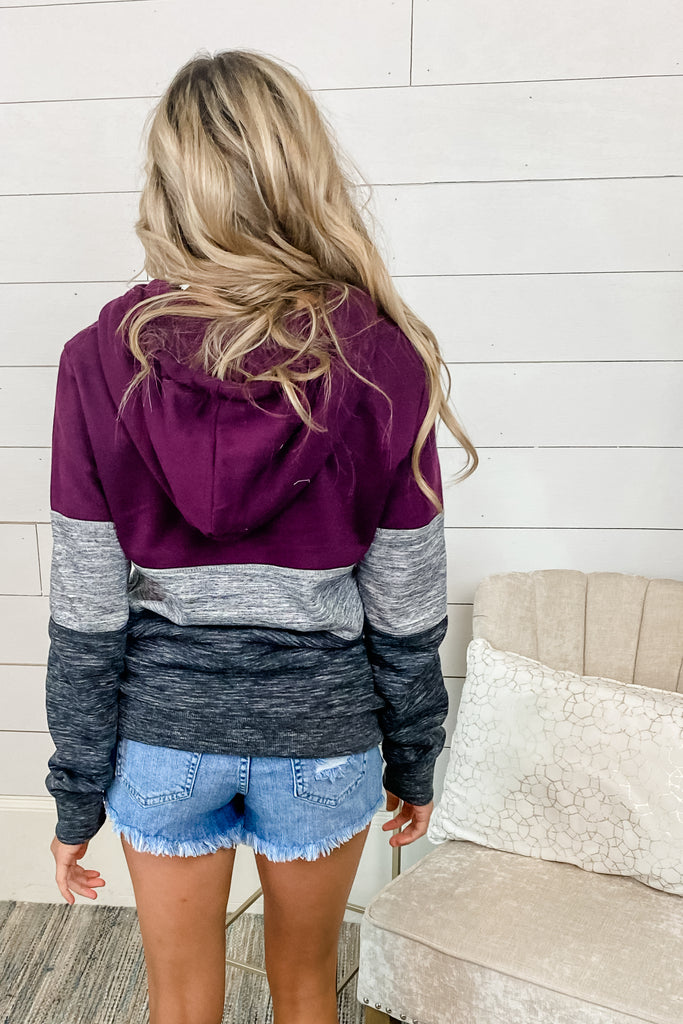 PLUM Cool Zone Colorblock 1/4 Zip Hoodie Simply Me Boutique Sezzle