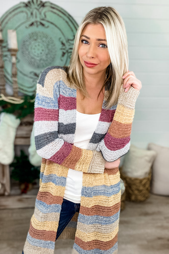 New Adventures Multicolored Striped Long Cardigan