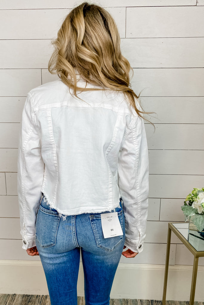 WHITE Raw Cut Denim Jean Jacket
