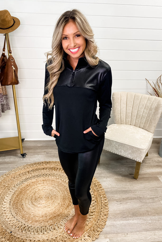 SET Black Solid Glossy Accent Half Zip Pullover and Leggings