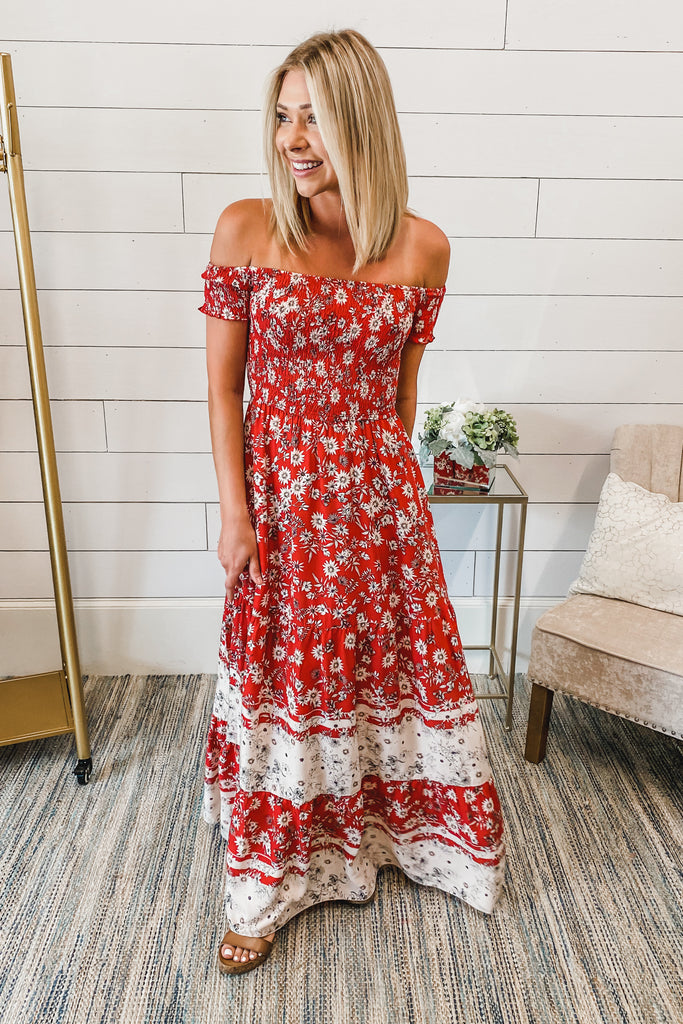 My Love Language Off Shoulder Red Maxi Dress