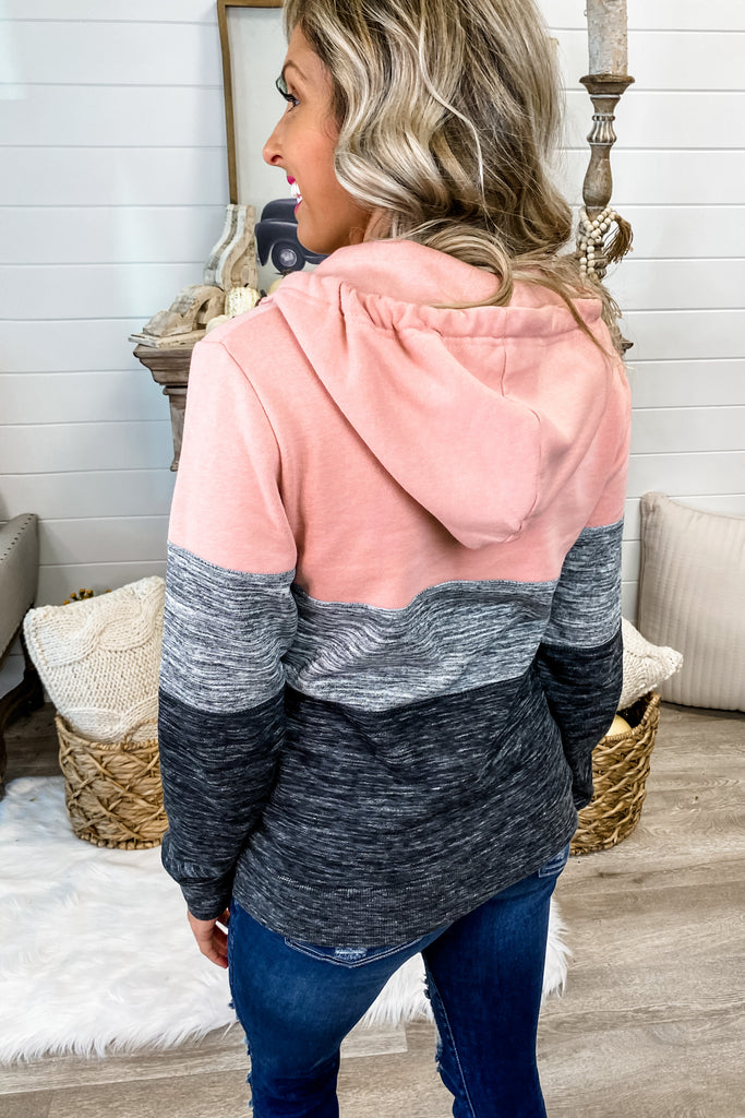 Dark Blush Colorblock 1/4 Zip Hoodie