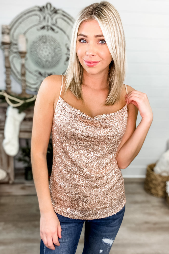 Dancing in the Dark Sequin Cami (Taupe)
