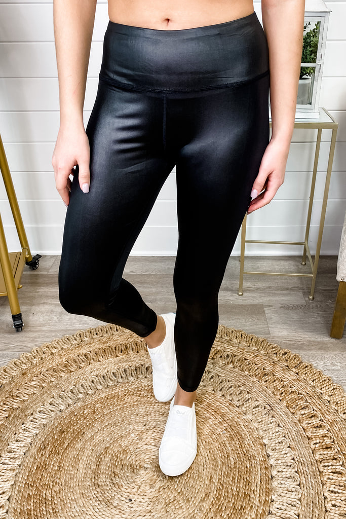 Black Solid Gloss Leggings Wide Waistband || Simply Me Boutique