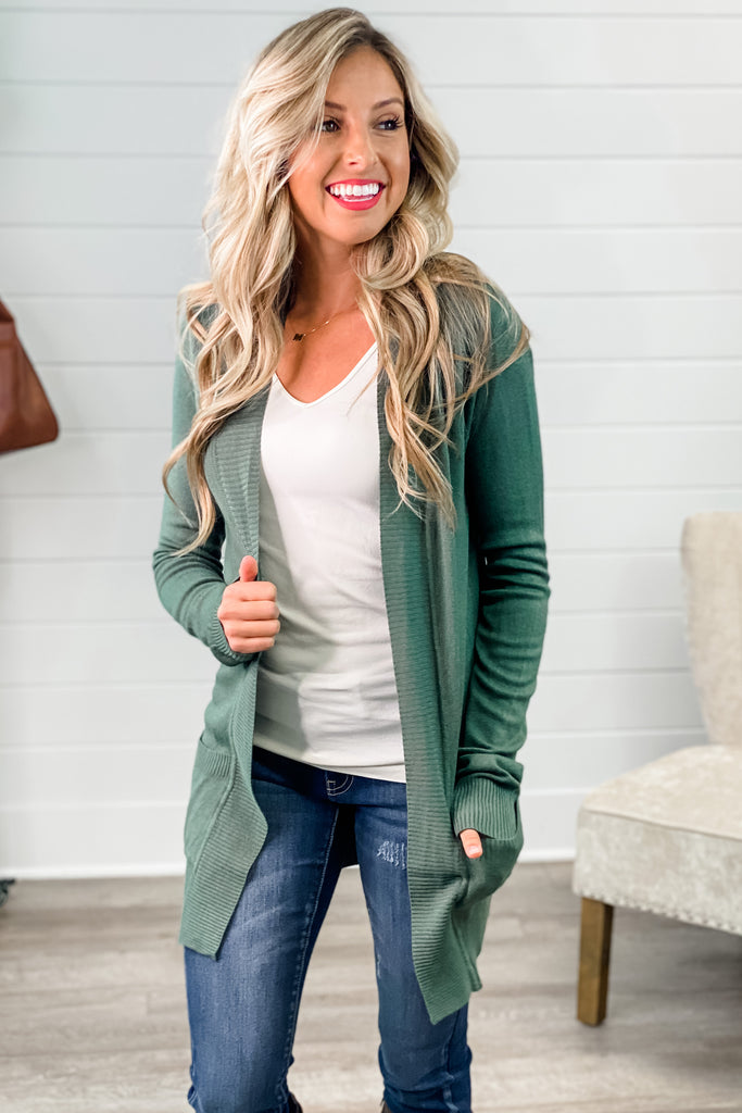 One of My Kind Cozy Cardigan (Kale)