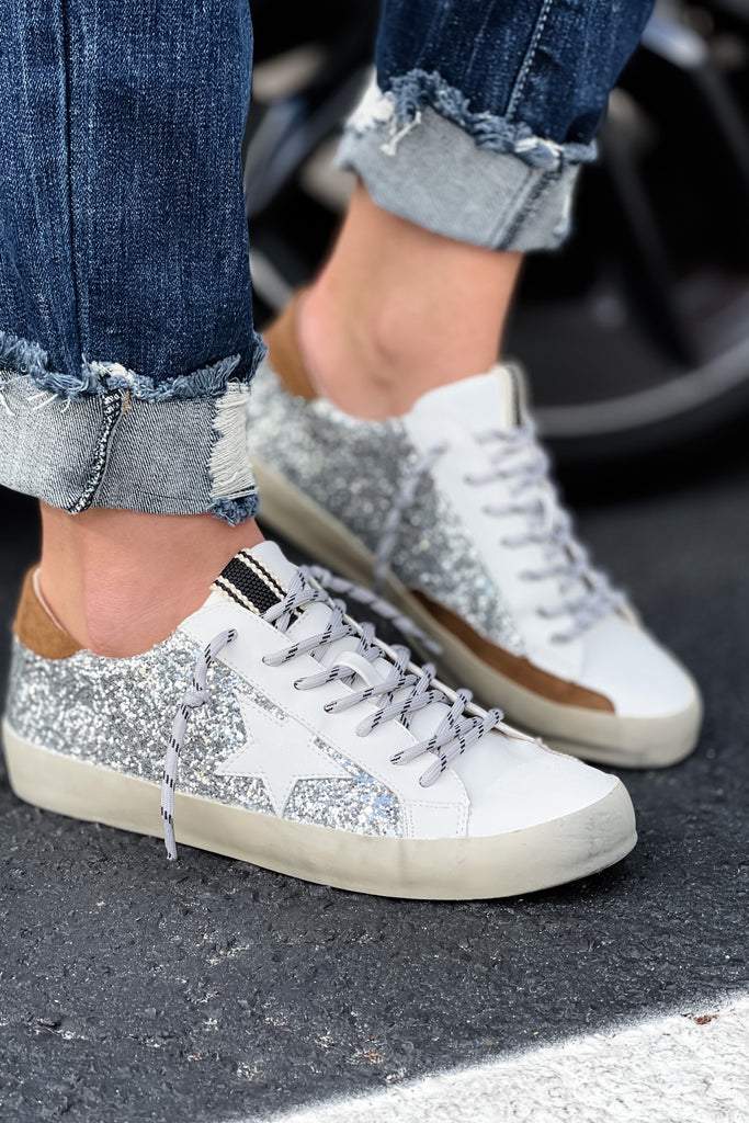 SHU SHOP Paula Silver Sparkle Distressed Sneakers