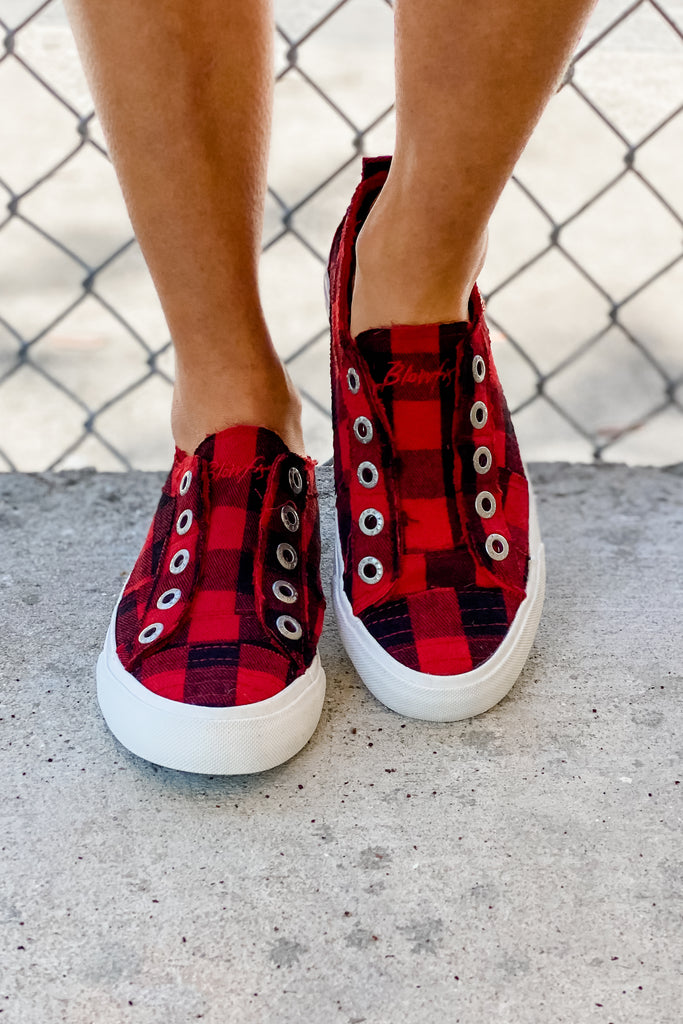 BLOWFISH Play Slip On Sneaker Red Buffalo Plaid - Simply Me Boutique