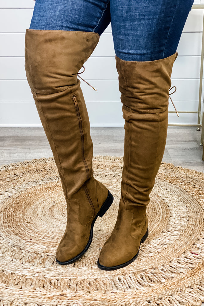 Coffee Suede Over the Knee Side Zip Boots