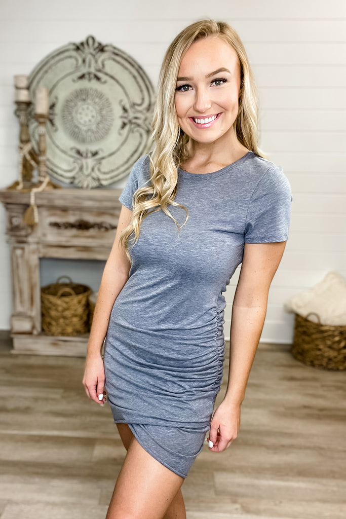 (Blue Grey) We Found Love Ruched Dress