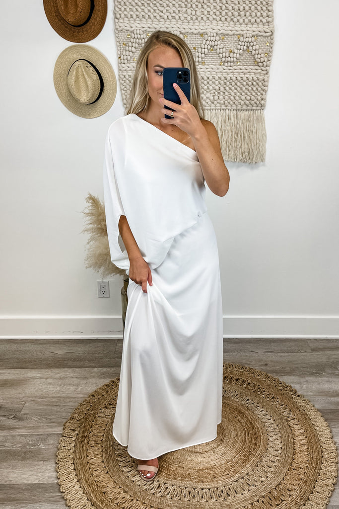 Greek Goddess Slouchy One Shoulder Maxi (WHITE)