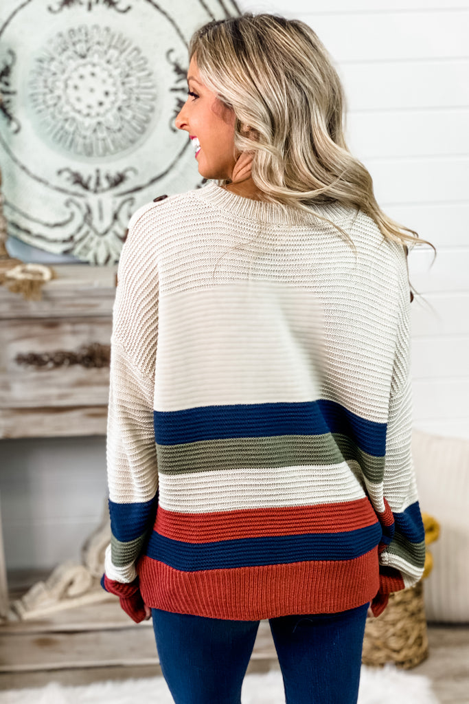 You Had My Heart Striped Button Detail Oatmeal Sweater