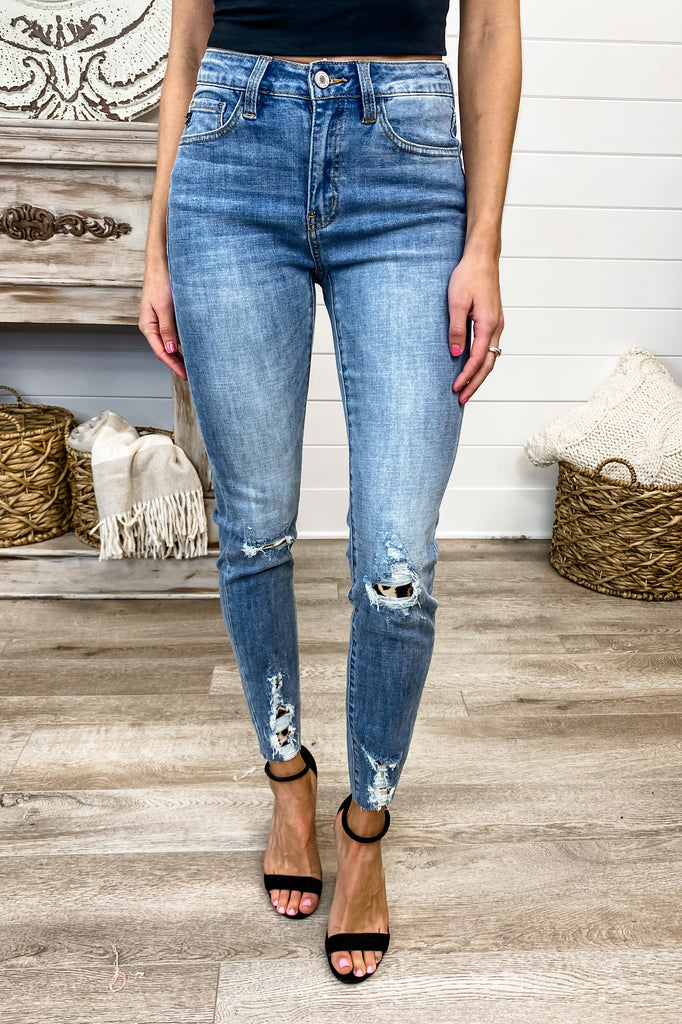KANCAN Party Animal Leopard Patch Jeans