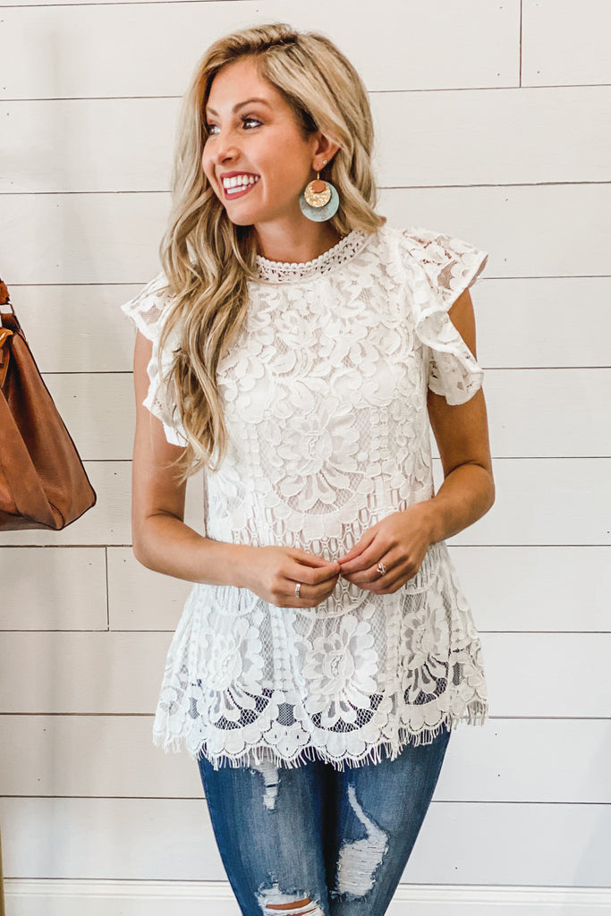 Lovely in Lace Mockneck White Top - Simply Me Boutique SMB Sezzle Free Ship