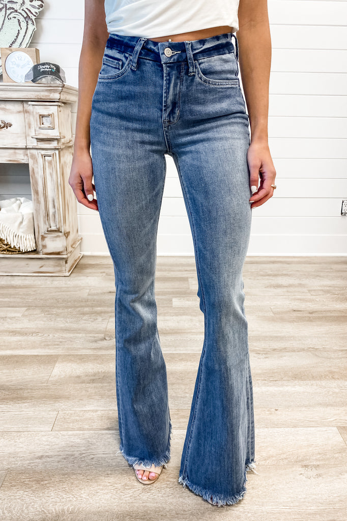 "VERVET ""Southern Drawl"" High Rise Raw Hem Flare Jeans (FINAL SALE)"
