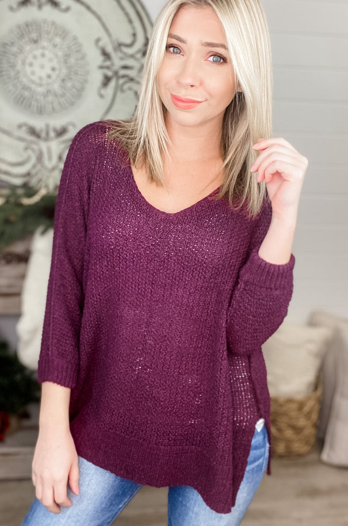 (Plum Wine) True Faith Crew Neck Sweater