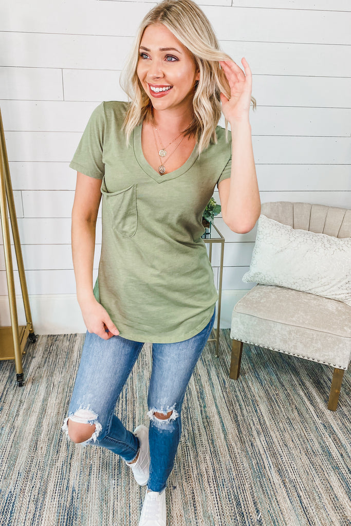 Z SUPPLY The Pocket Tee (Oil Green) - Simply Me Boutique Shop SMB
