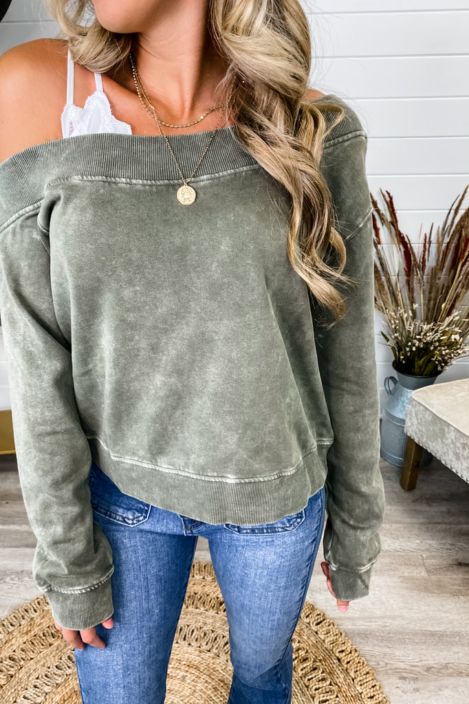 Slow Down Off Shoulder Olive Mineral Washed Pullover