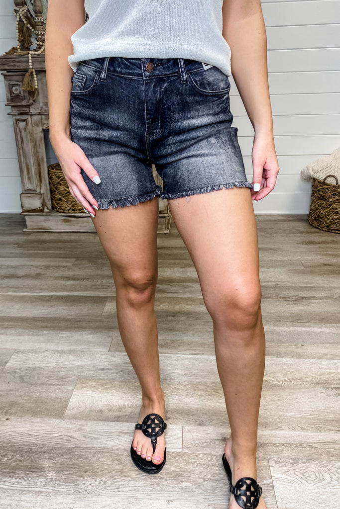 "JUDY BLUE ""Nora"" Dark Grey Fray Hem Cut-Off Shorts"