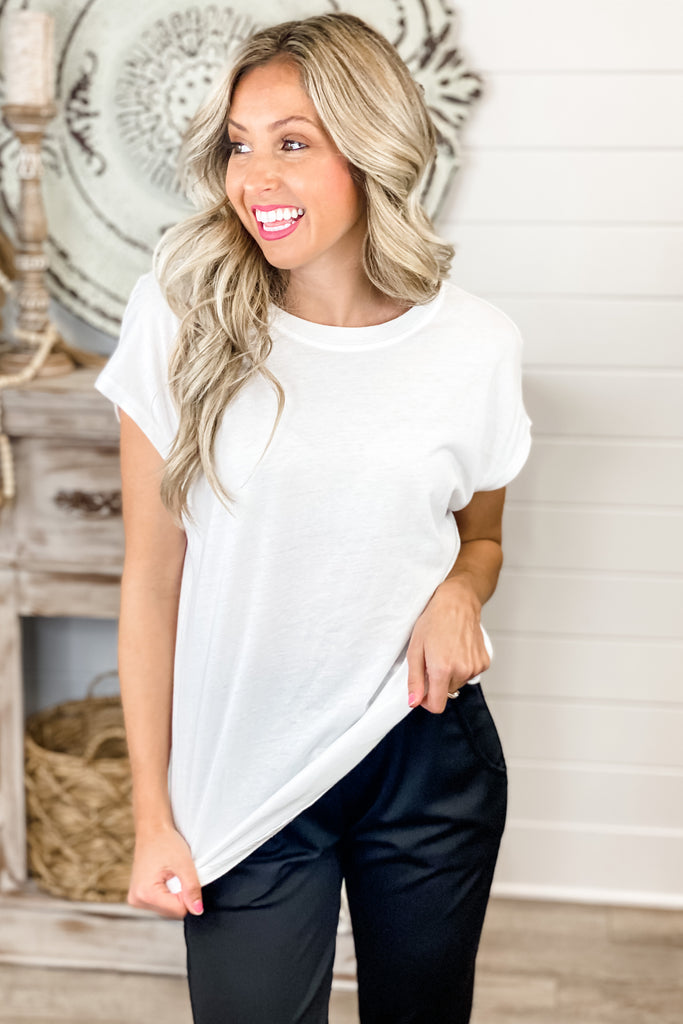 All of Me Open Twist Back Top (White)