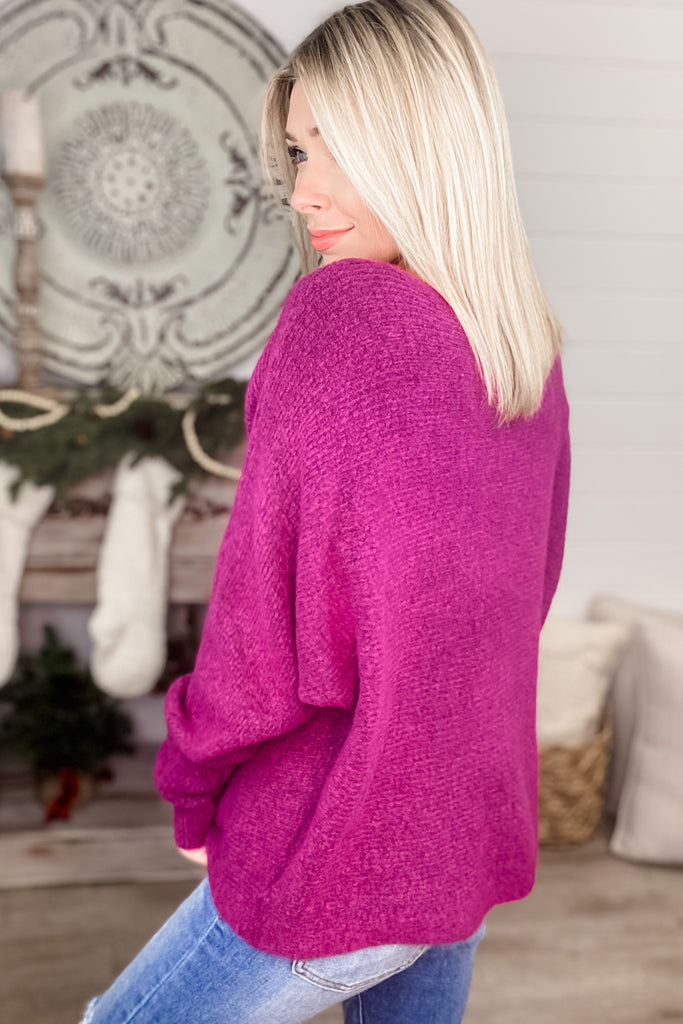 (Orchid) To the Moon Off Shoulder Slouchy Sweater