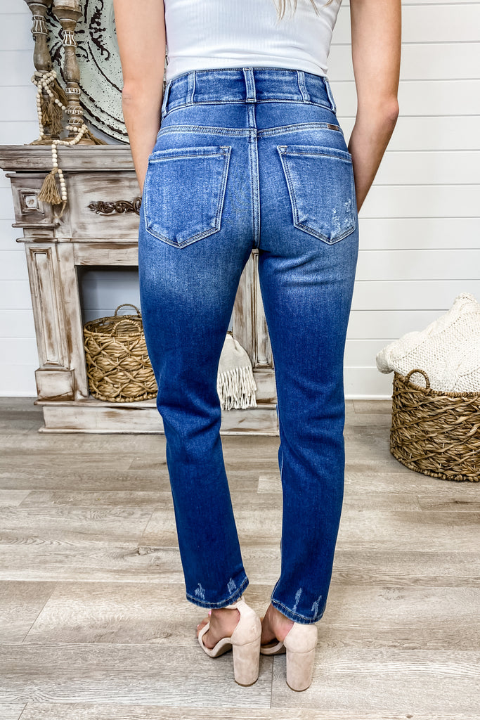 "Kancan ""Head in the Clouds"" Double Button High Rise Jeans"