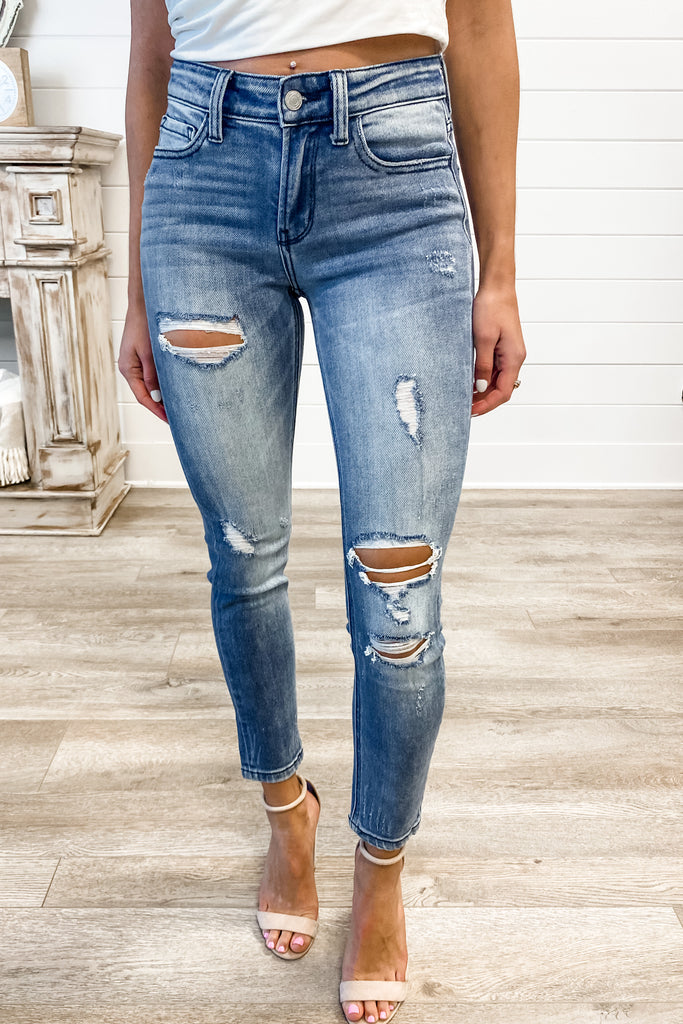 "VERVET ""Mary Jo"" Mid Rise Distressed Ankle Skinny"