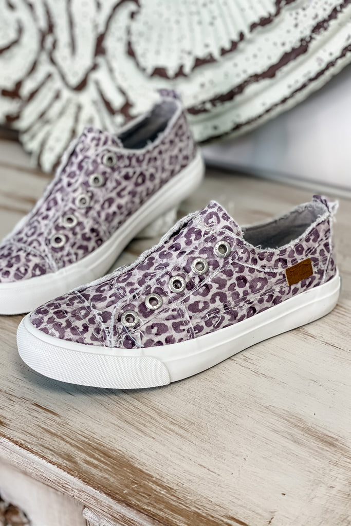 *NO BOX* BLOWFISH Play Slip On Sneaker (Purple Grey Water Leopard)