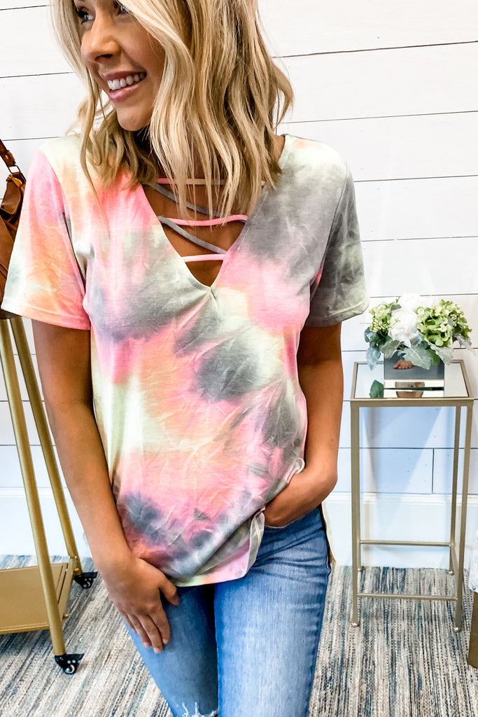 The Sky is the Limit Tie Dye Cage Detail Top (Grey)