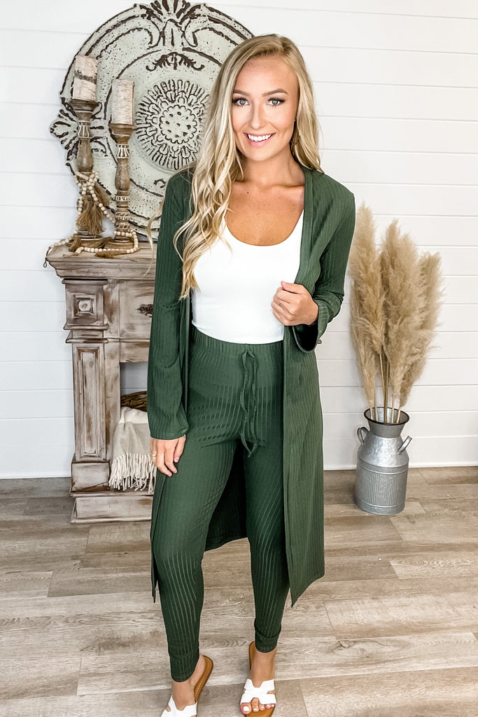 (Olive) Ribbed Cardigan & Leggings SET