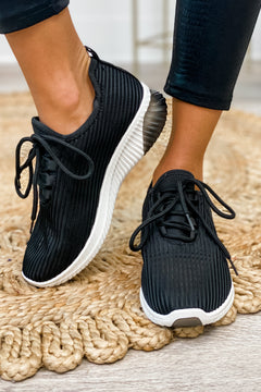 Pretty Fly Lace Up Sneakers (Black)