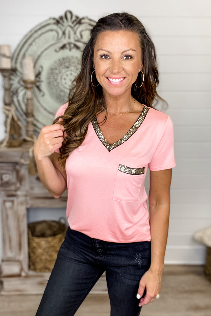 Touch of Sparkle Top (Blush)