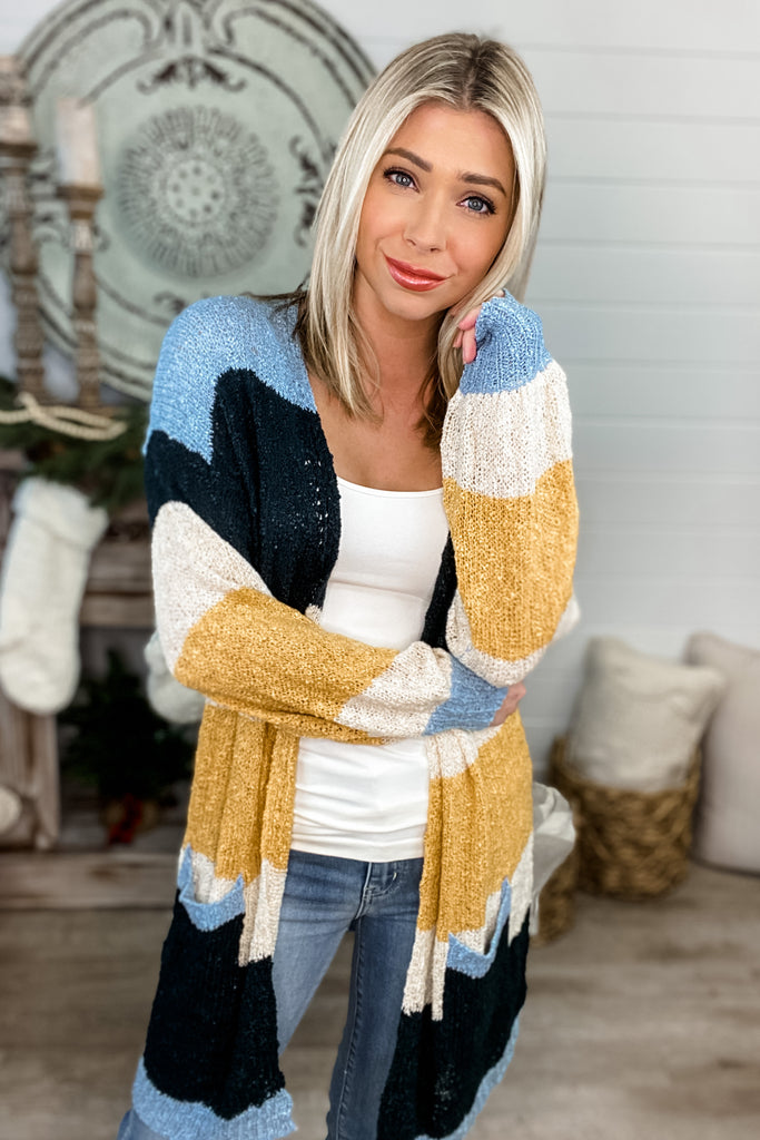 I'll Be There For You Blue Colorblock Cardigan