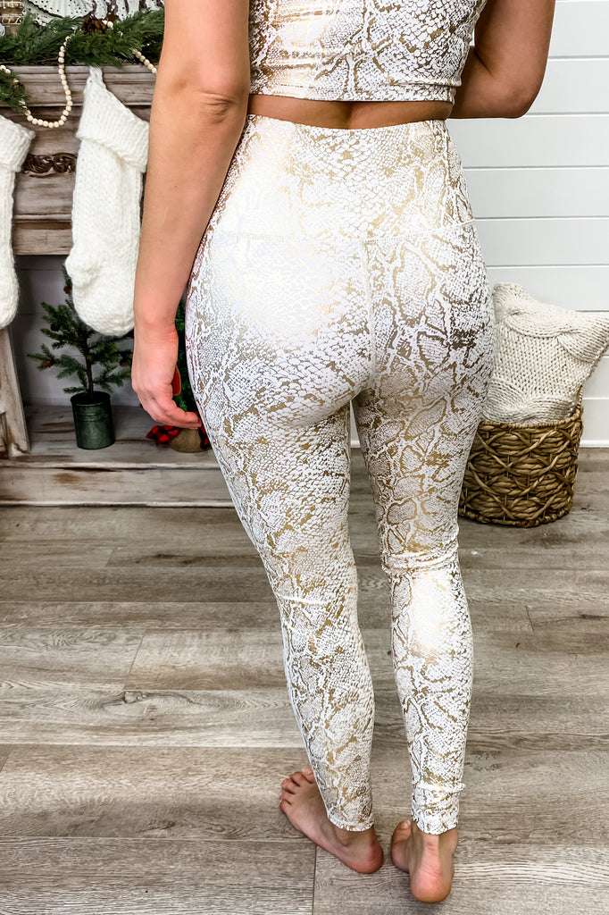 Gold Foil Snake Print Highwaist Leggings