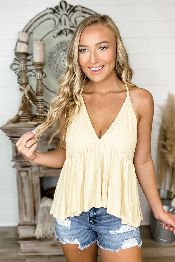 What's It Gonna Take Ribbed Babydoll Tank (BANANA)