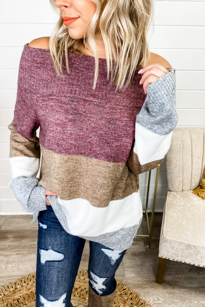 Loving This Life Plum Mocha Colorblock Sweater || Simply Me Boutique