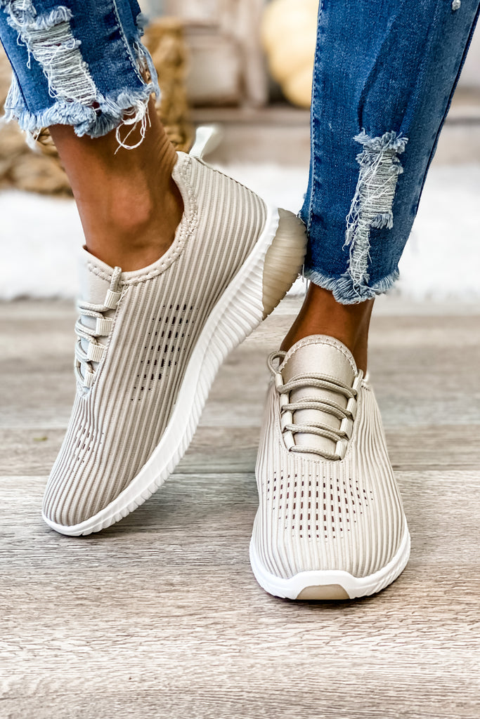 Pretty Fly Lace Up Sneakers (Taupe)