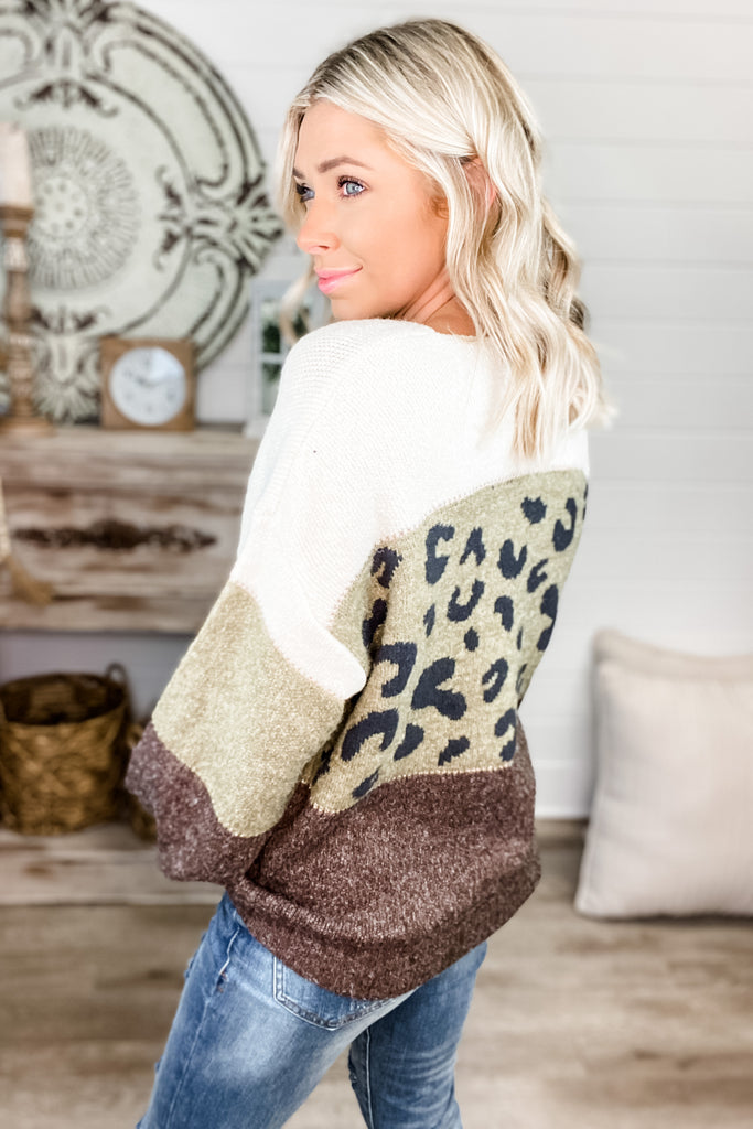 Game On Leopard Colorblock Sweater