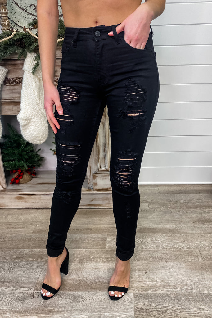 "KANCAN ""Starry Nights"" High Rise Distressed Black Skinny Jeans"