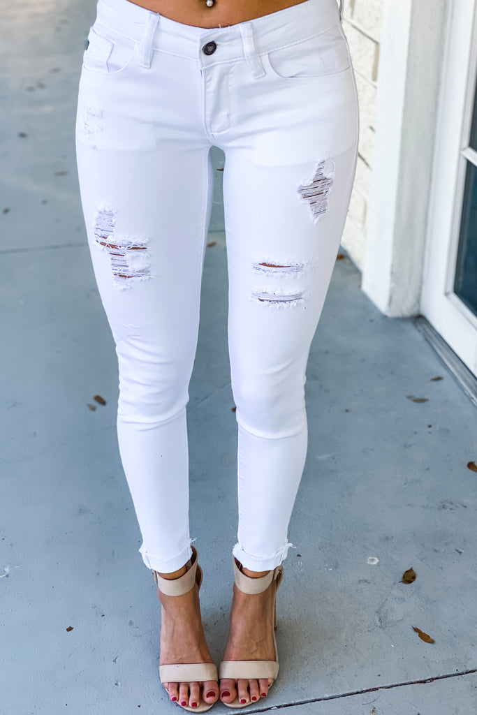 Dreamer White Cropped Skinny KANCAN Jeans - Simply Me Boutique SMB