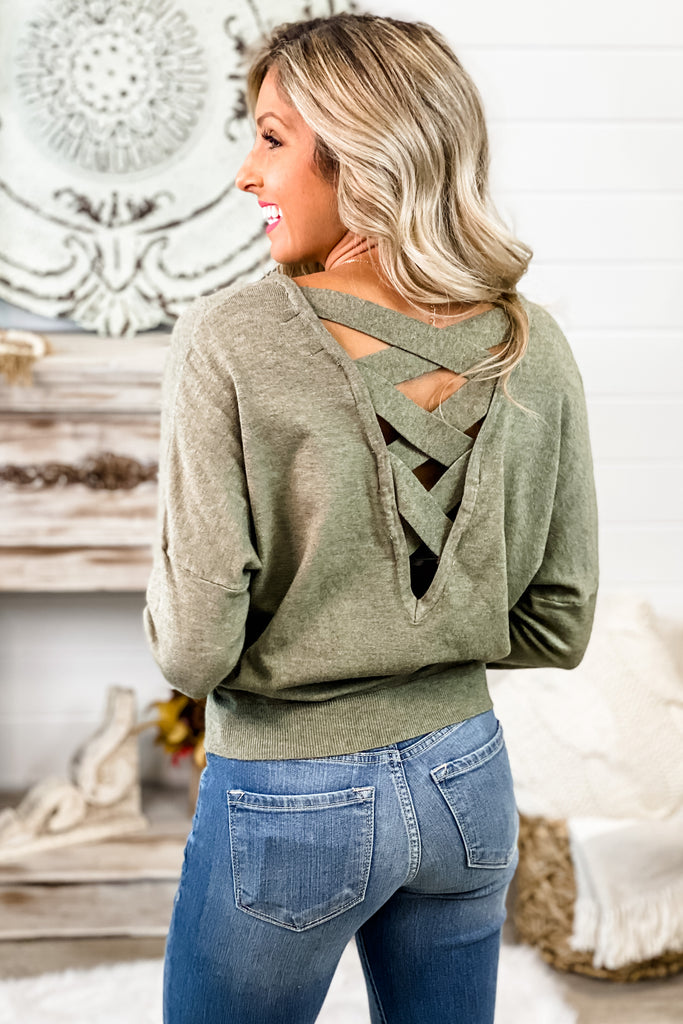 DREAMERS Just a Kiss Crisscross Back Top (Heathered Olive)