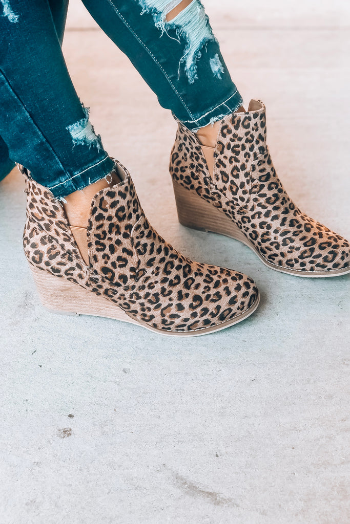 VERY G Leopard Wedge Booties - Simply Me Boutique SMB