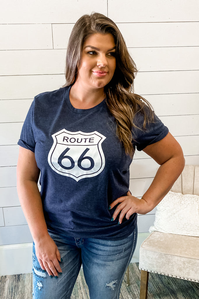 Route 66 Graphic Tee (Heather Navy) Simply Me Boutique Sezzle Free Ship