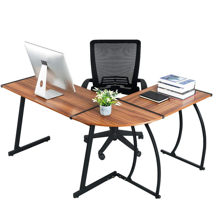 L-Shaped Corner Desk Gaming Computer PC Laptop Table Workstation for Home  Office 3-Piece,Dark Walnut,Clivia